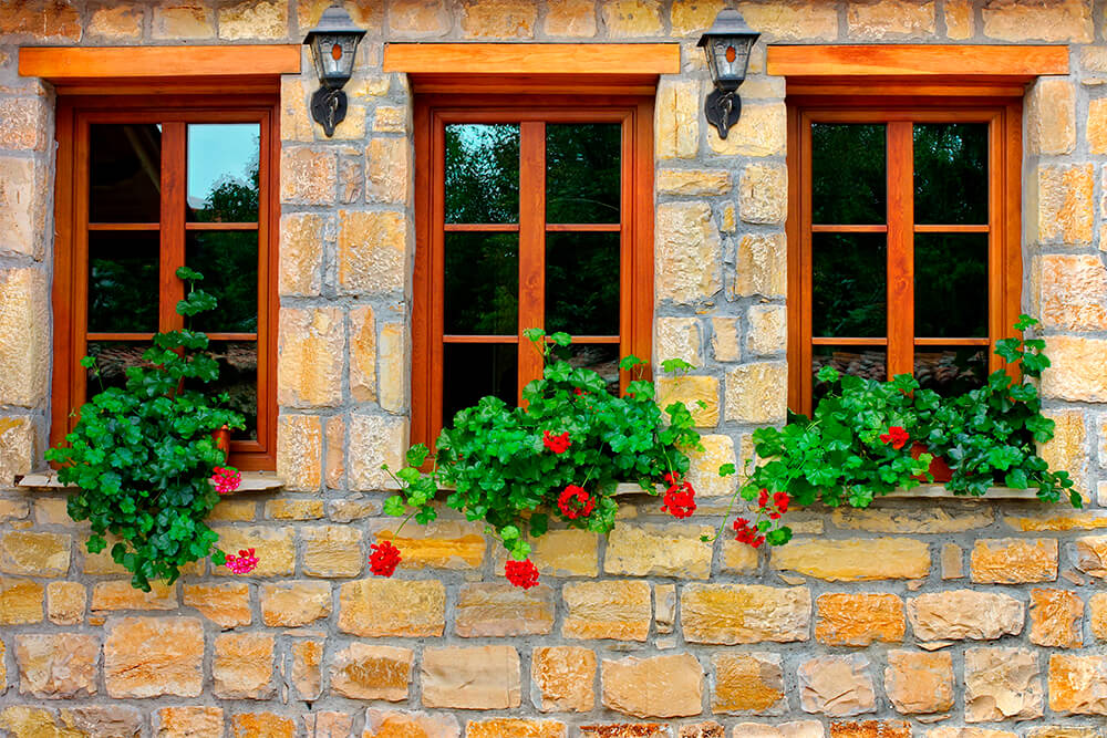 Three wooden windows