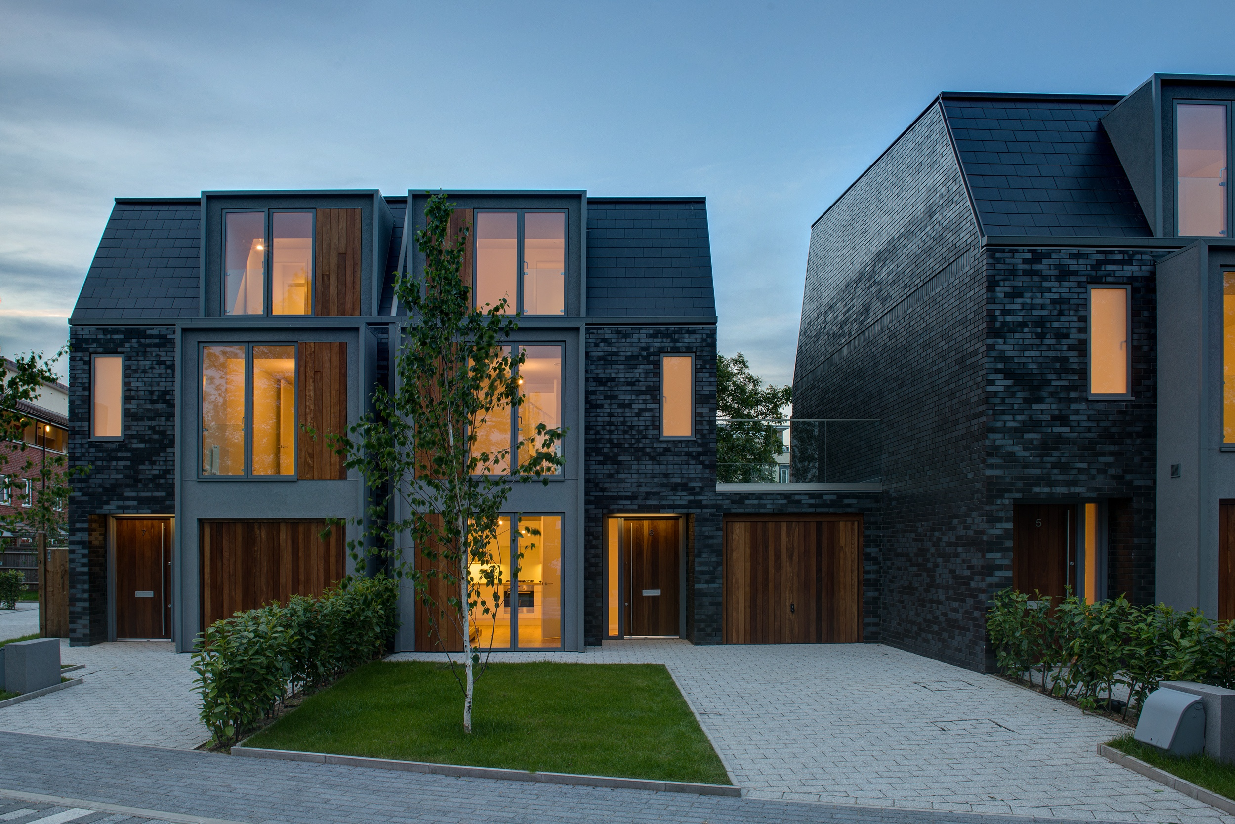 Contemporary designed house with windows with thick frames