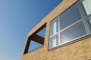 Dark colors make the window frame blend with the actual pane and create a smooth transition and calm facade